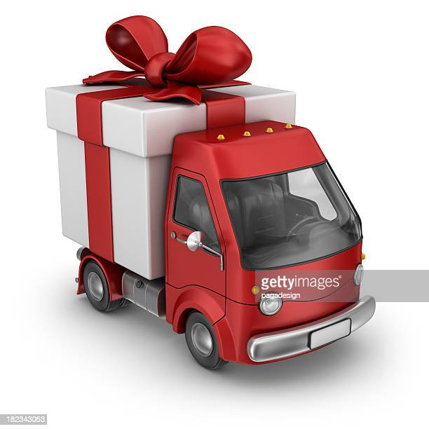 red gift box delivery van