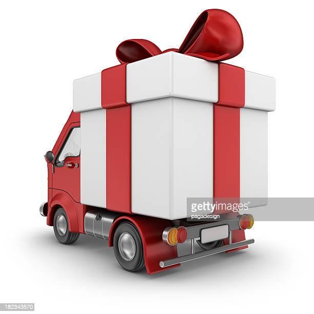 roten Geschenk-Kasten-Lieferwagen