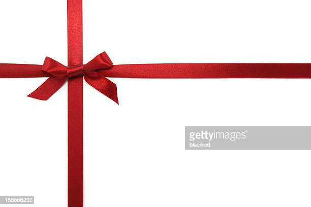 red gift ribbon & bow - rood stockfoto's en -beelden