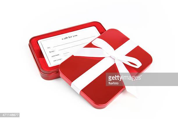 red giftbox - gift card stock photos and pictures