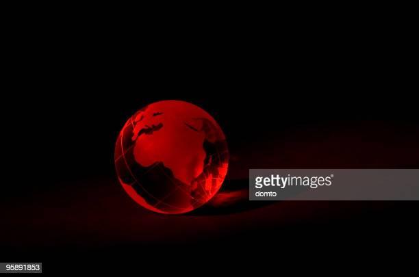 Red, glass globe