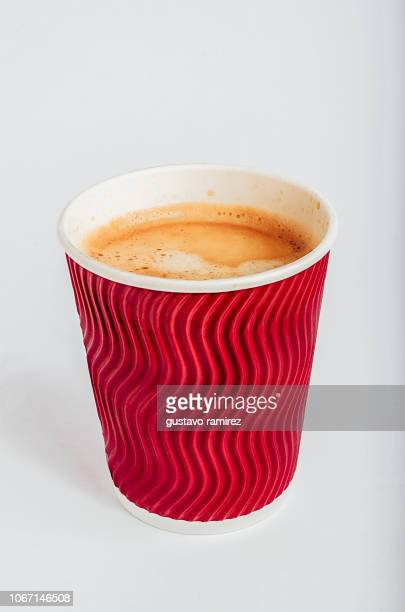 red glass of espresso coffee - disposable cup stock pictures, royalty-free photos & images