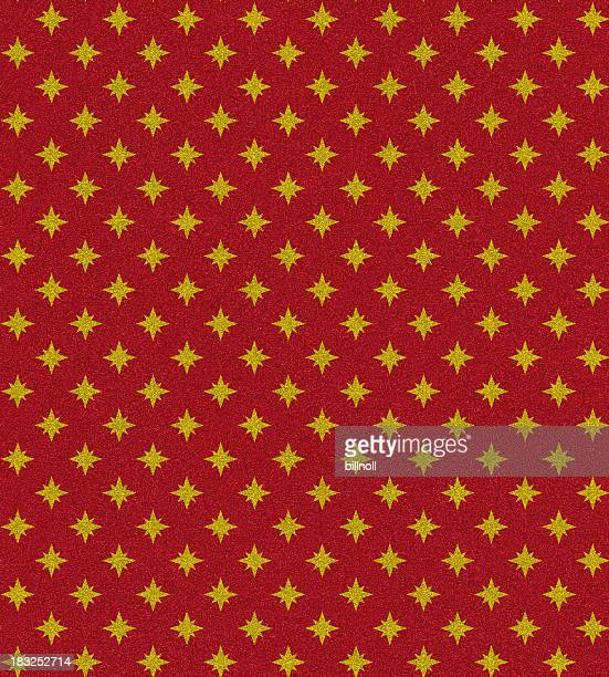 red glitter with gold star pattern
