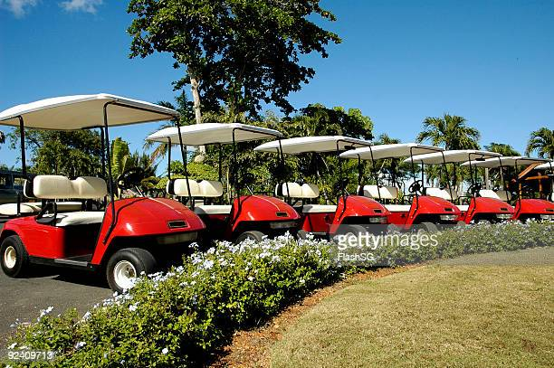 Red Golf Carts Parked