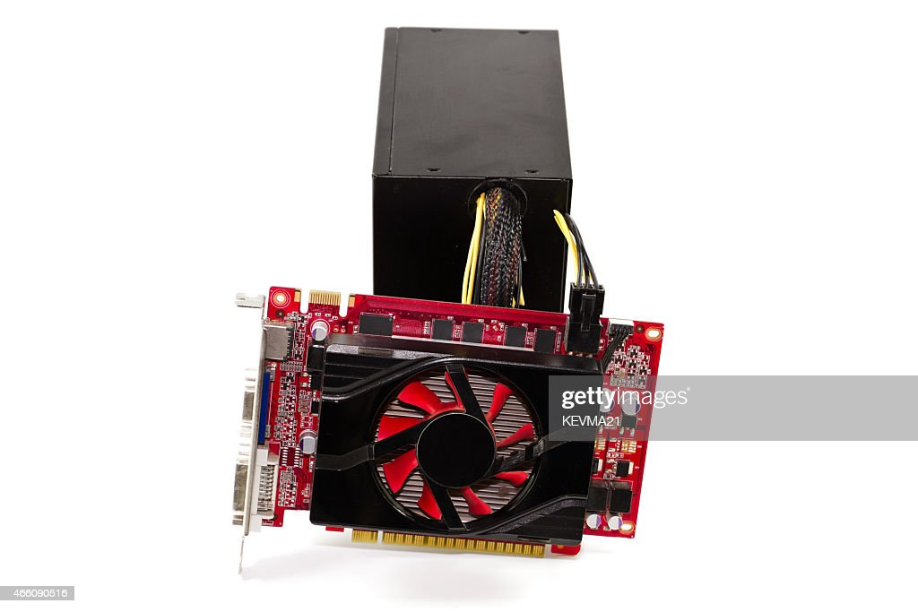 Red Graphic Card With Defect Computer Power Supply Stock