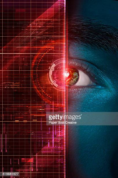 red graphics over a man's iris and pupil - coding stock pictures, royalty-free photos & images