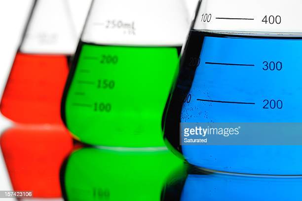 Red, Green and Blue Chemicals in Conical Flasks