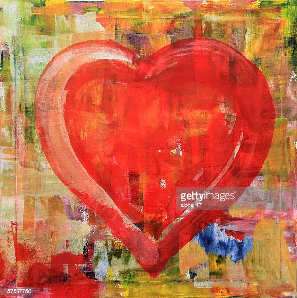 red grunge heart - acrylic painting stock photos and pictures