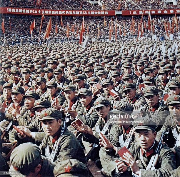 Red Guards at Rally Reading Mao Zedong's Little Red Book Beijing China 1966
