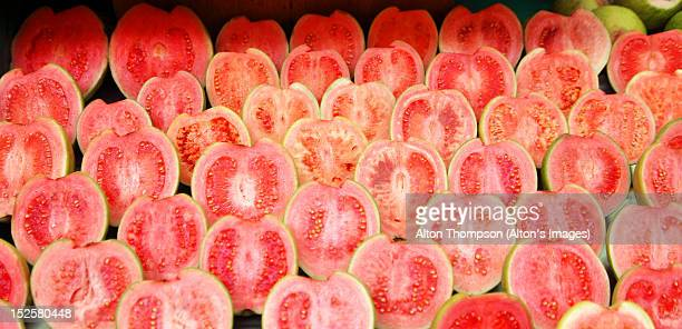 red guava - guava fruit stock photos and pictures