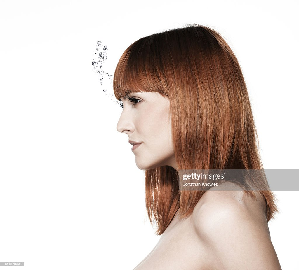 Red Hair Female Side View Bubbles Stock Photo