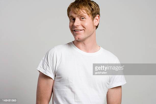 red hair white t-shirt - white hair stock photos and pictures