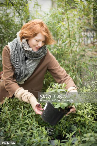 Red haired woman shopping for plants
