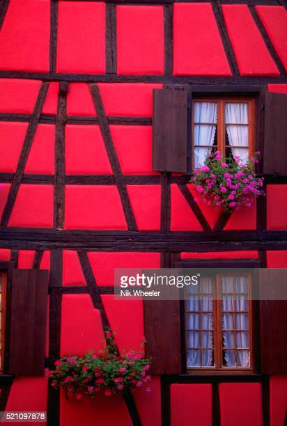 Red Half-Timber Building in Alsace