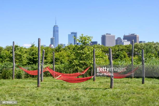 red hammocks on governors island - governors island stock pictures, royalty-free photos & images