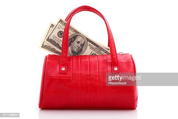 Mala vermelha com Unidade Monetária dos Estados Unidos