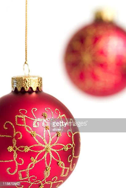 Red hanging christmas baubles