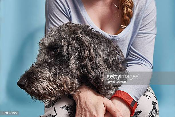 Red headed British female with her dog