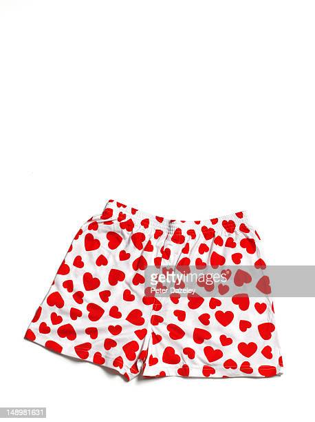 red heart boxer shorts - shorts stock pictures, royalty-free photos & images
