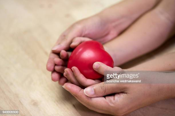 red heart in child kid and mother hands on wooden table. - world kindness day fotografías e imágenes de stock