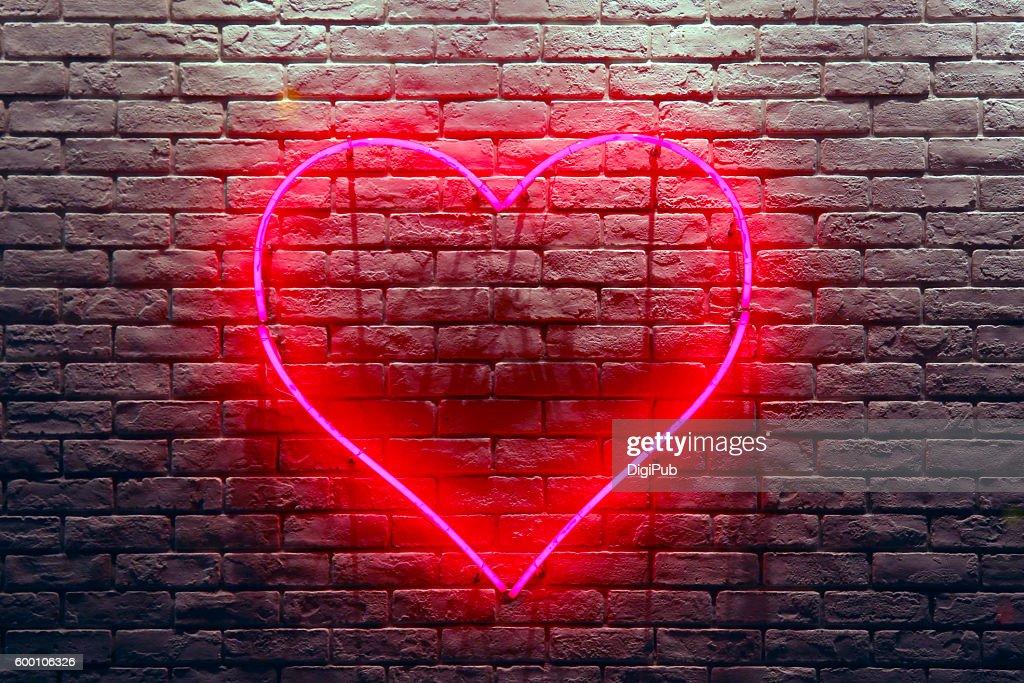Red Heart Neon Light : ストックフォト