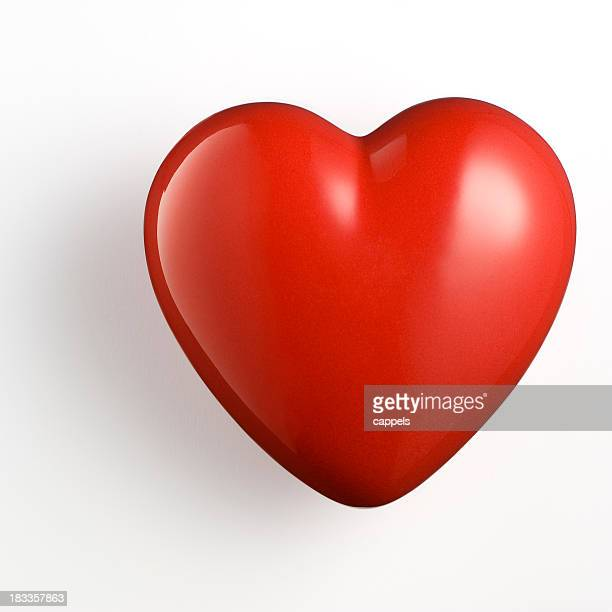 red heart on white background.color image - three dimensional stock pictures, royalty-free photos & images