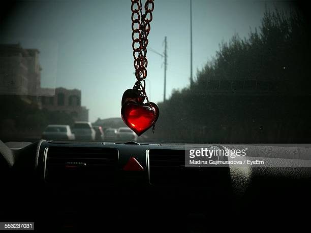 Red Heart Shape Pendant Hanging On In Car