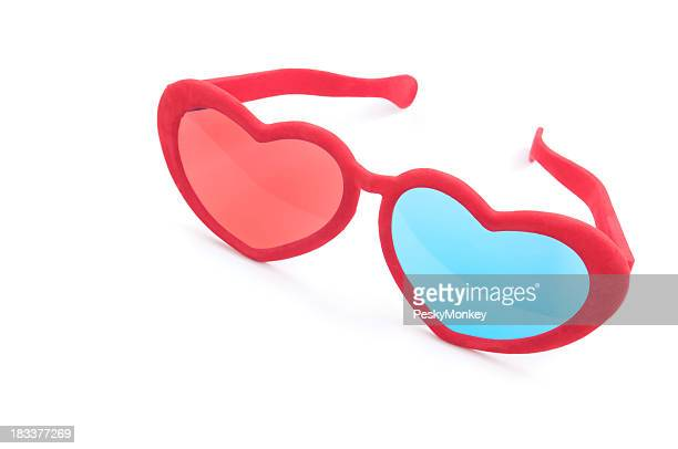 Red Heart Shaped 3D Love Glasses on White Background