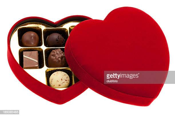 Red heart shaped box of chocolates