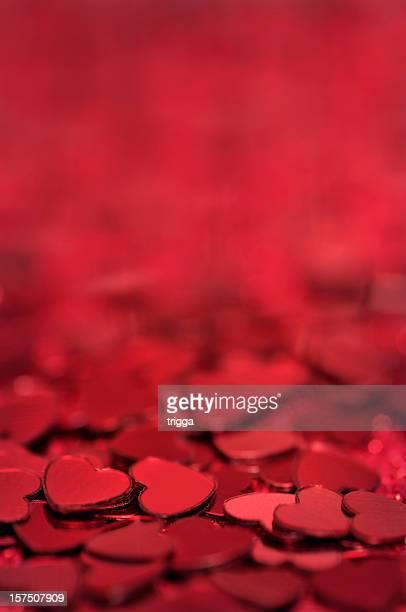 Corazones de fondo rojo