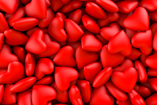 Red hearts. Background texture of hearts. Valentine's Day. 3D rendering illustration 1127277557