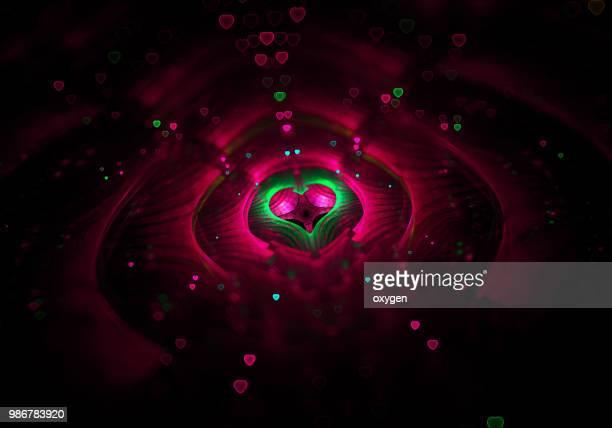 Red Hearts on center of Dark glitter background
