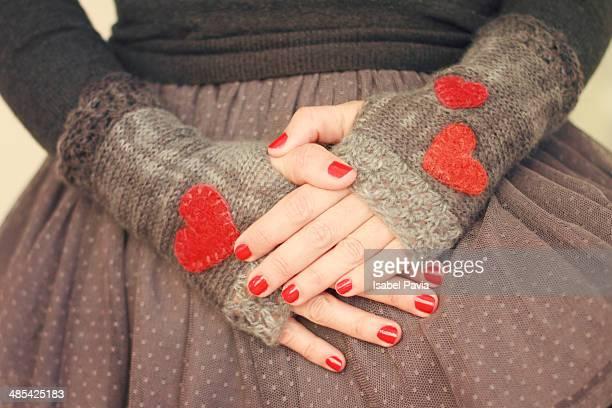 red hearts - 指なし手袋 ストックフォトと画像