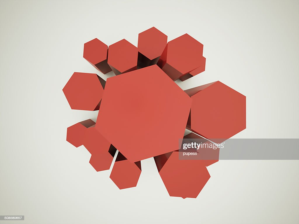 Red hexagonal background : Stockfoto