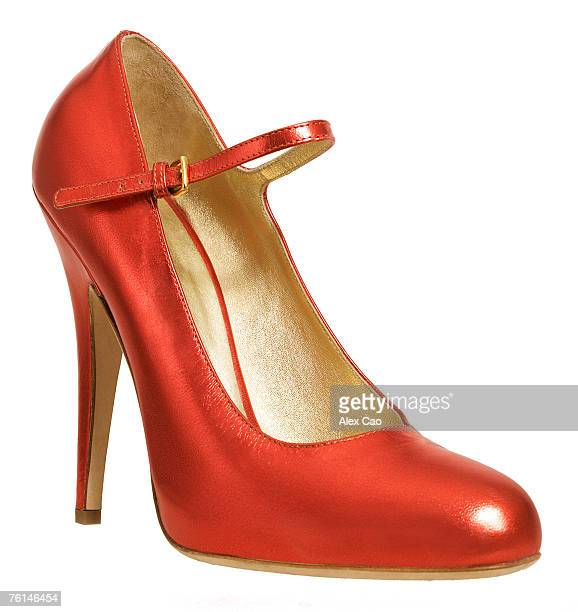 red high heeled shoe with ankle strap, close-up - strap stock photos and pictures