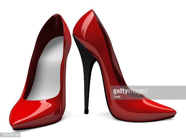 3d red high heels shoes - front and side view - höga klackar bildbanksfoton och bilder