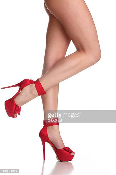 Red High Heels Shoes with a Bow on the Toe