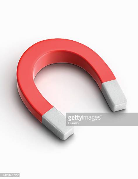 red horseshoe magnet - horseshoe magnet stock pictures, royalty-free photos & images
