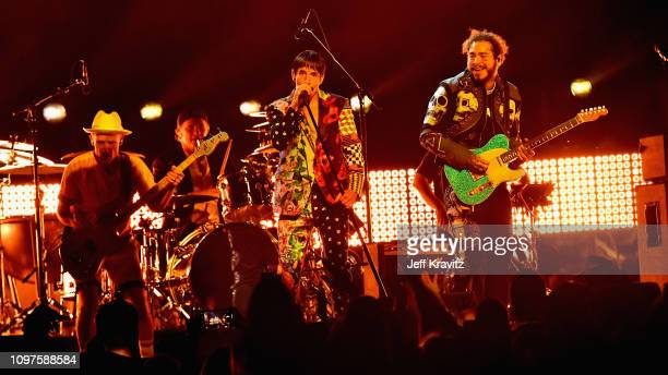 Red Hot Chili Peppers and Post Malone perform onstage during the 61st Annual GRAMMY Awards at Staples Center on February 10 2019 in Los Angeles...
