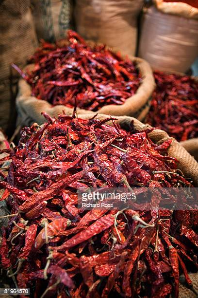 red hot chili peppers at an Indian market