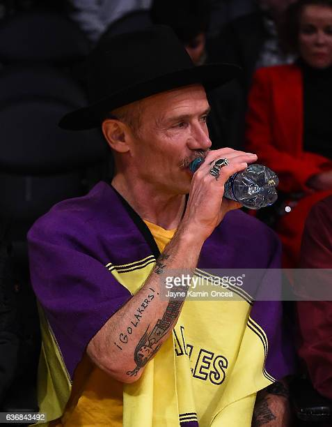 Red Hot Chili Peppers bassist Flea attends the game between the Los Angeles Lakers and the Los Angeles Clippers at Staples Center on December 25 2016...