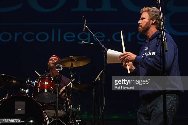 Red Hot Chili Peppers Drummer Chad Smith and actor and comedian Will Ferrell perform on stage during 90 Minutes With Will Ferrell benefitting Cancer...