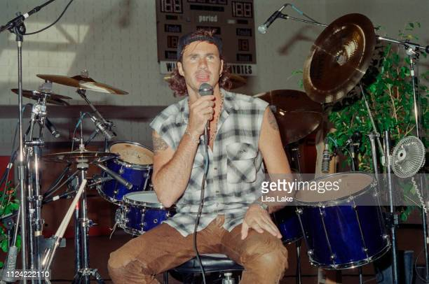 Red Hot Chili Peppers drummer Chad Smith performs during a clinic at California Drum Shop on September 25 in Bethlehem Pennsylvania