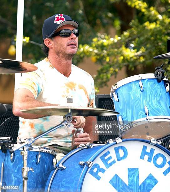 Red Hot Chili Peppers drummer Chad Smith takes a break from doing a sound check at an apartment complex pool as part of VH1's Backyard Barbecue...