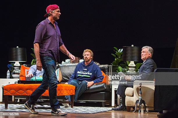 Red Hot Chili Peppers drummer Chad Smith walks on stage as Craig Pollard Will Ferrell and Dennis Bounds watch during 90 Minutes With Will Ferrell...