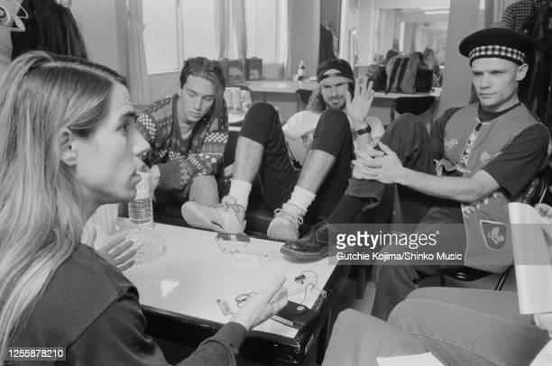 Red Hot Chili Peppers, photo shoot during an interview with Japanese magazine Music Life backstage in Club Citta Kawasaki, Kakagawa, Japan, 27th...