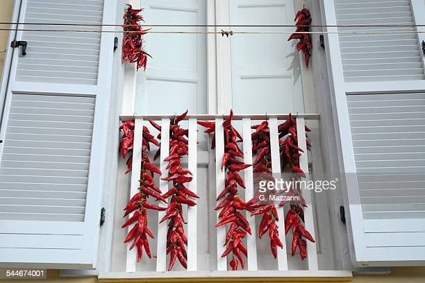 Red hot chillies drying
