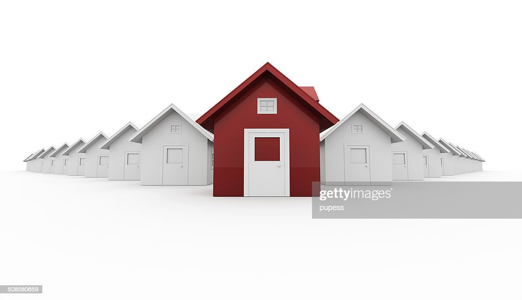 Red house leader icon concept isolated on white : Stock Photo