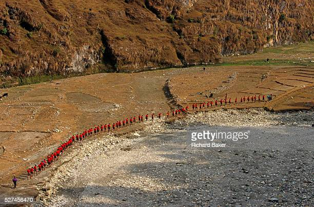 Red identical tshirts of young Nepali boys walk in singlefile through a dry valley near the British Gurkha Regiment's army camp at Pokhara after...