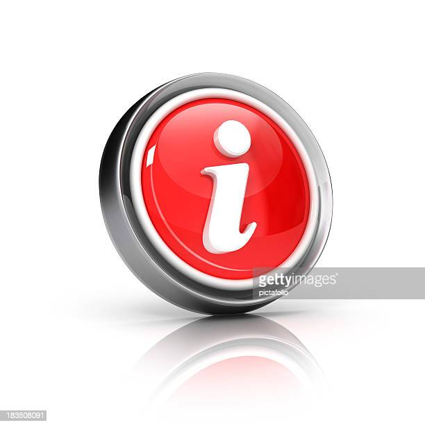 Red information button icon on a white background